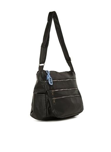 Bagmori  Kadın Çok Fermuarlı Salaş Çanta M000006025 Siyah